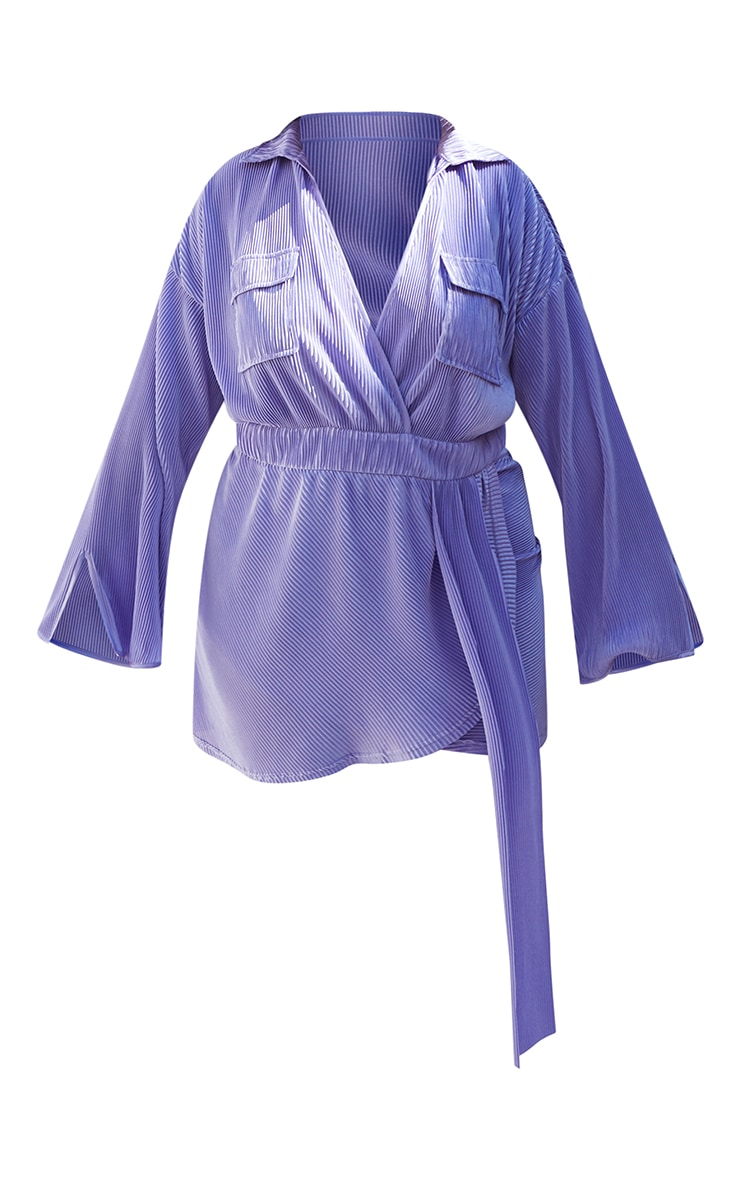 Plus Lilac Plisse Utility Pocket Wrap Dress 5
