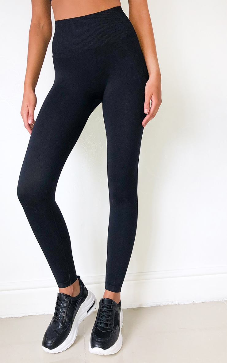 Black High Waist Seamless Gym Leggings 2