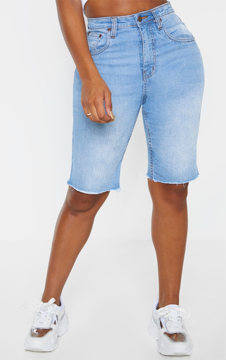 Shape Light Wash High Waisted Longline Denim Shorts 2