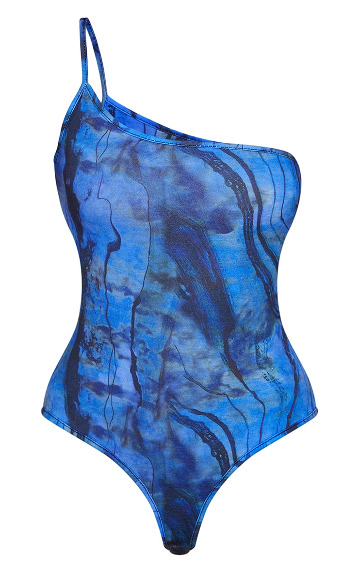Blue Abstract Print One Shoulder Strappy Thong Bodysuit 5