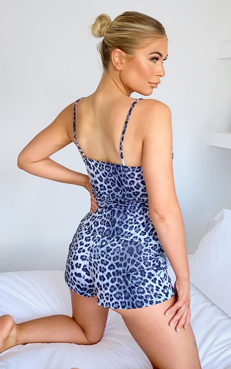 Grey Leopard Cami & Shorts PJ Set 2