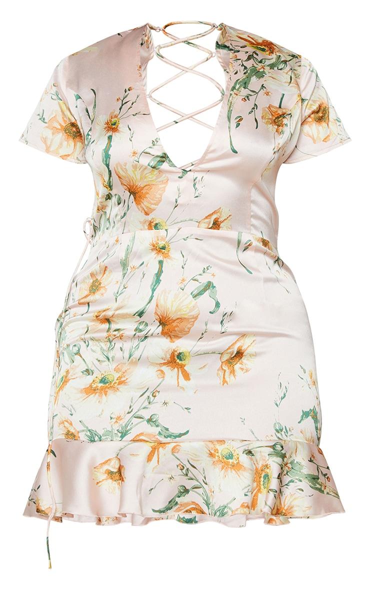 Plus Dusty Pink Floral Criss Cross Back Frill Hem Bodycon Dress 5