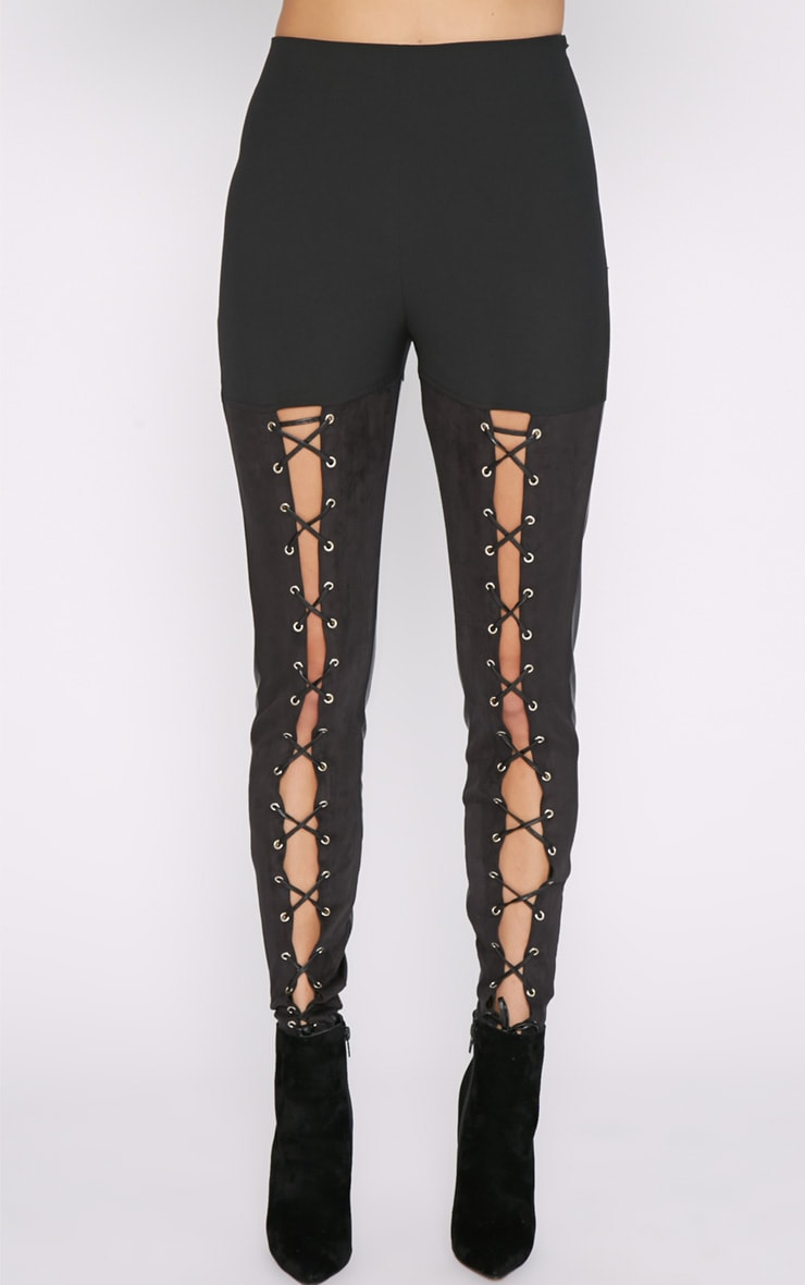 Philippa Black Suedette Panel Lace up Legging  5