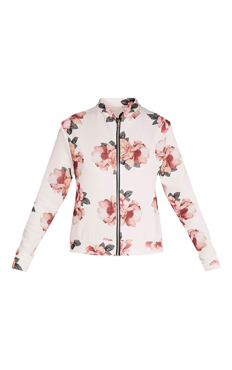 Emmah White Floral Ribbed Bomber Jacket 3
