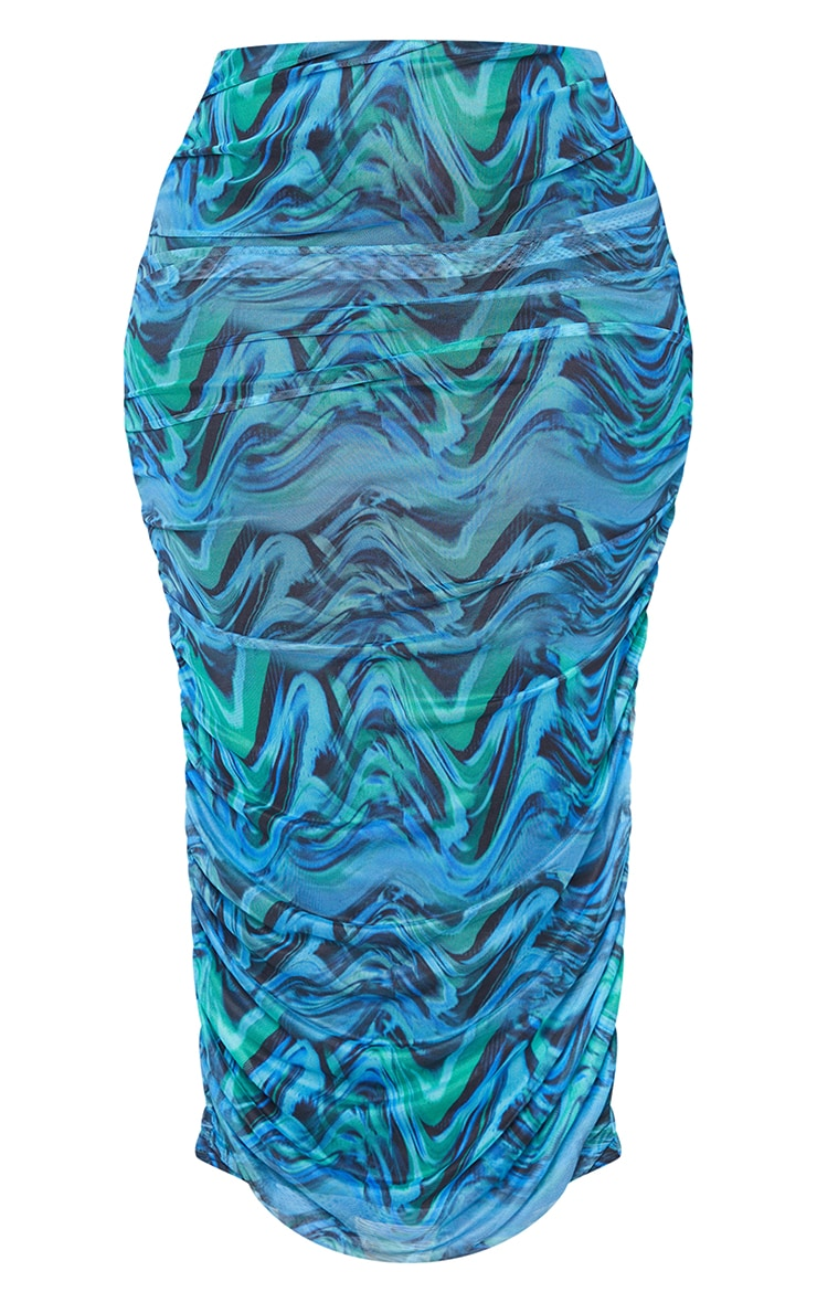Plus Blue Abstract Print Layered Mesh Ruched Split Detail Maxi Skirt 5