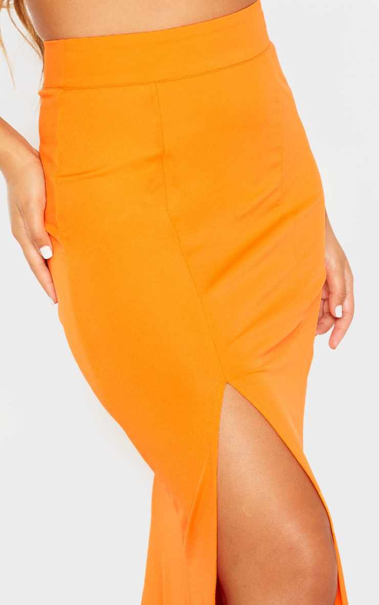 Orange Thigh Split Maxi Skirt 5
