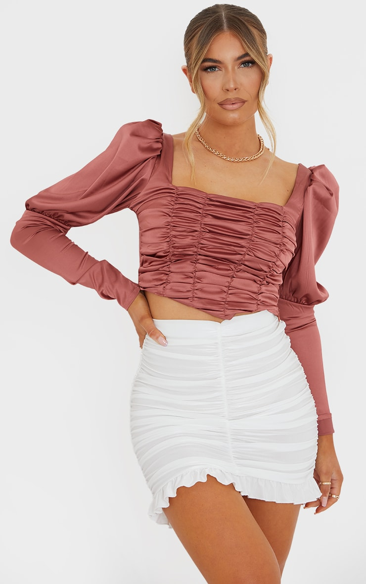 Terracotta Satin Ruched Front Puff Long Sleeve Crop Top 1