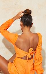 Bright Orange Tie Back Long Sleeve Romper 4