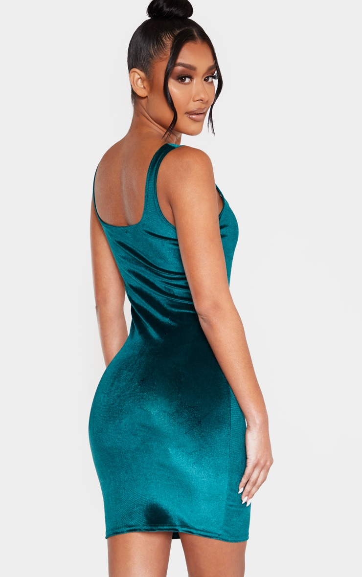 Emerald Green Velvet Sleeveless Square Neck Bodycon Dress 2