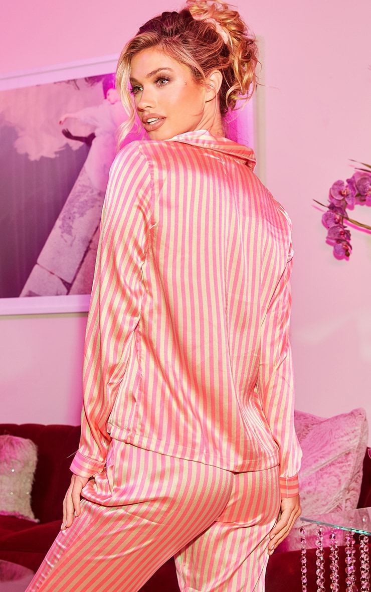 Pink Long Striped Satin PJ Set 2