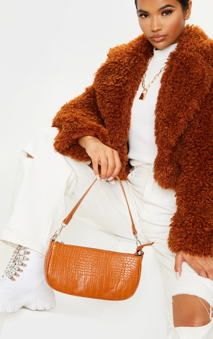 Sac style 90's en croco marron clair 1