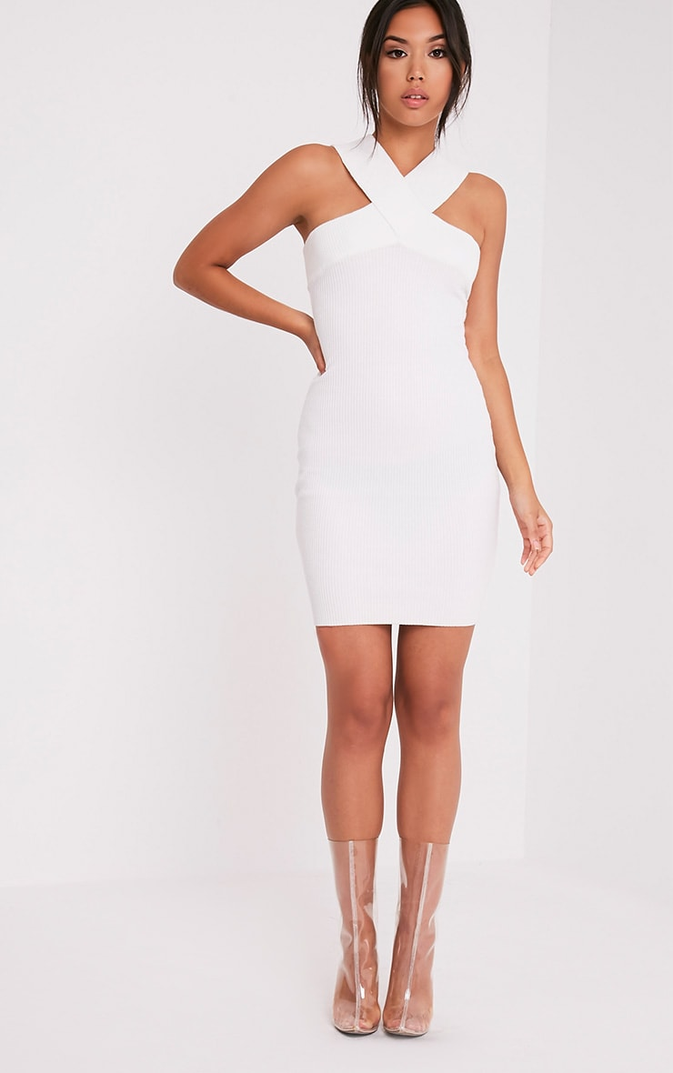 Aramiah Cream Ribbed Knit Body Con Mini Dress 5