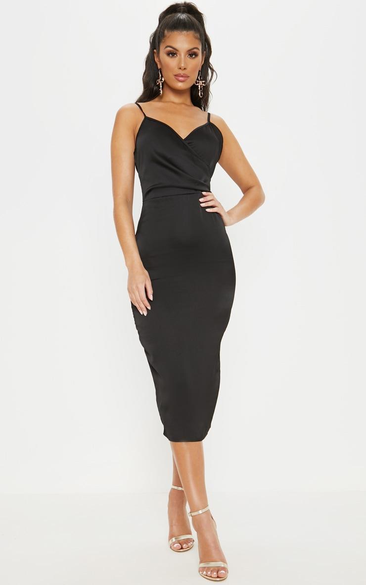 b1811c931f914 Black Satin Wrap Front Midi Dress | PrettyLittleThing