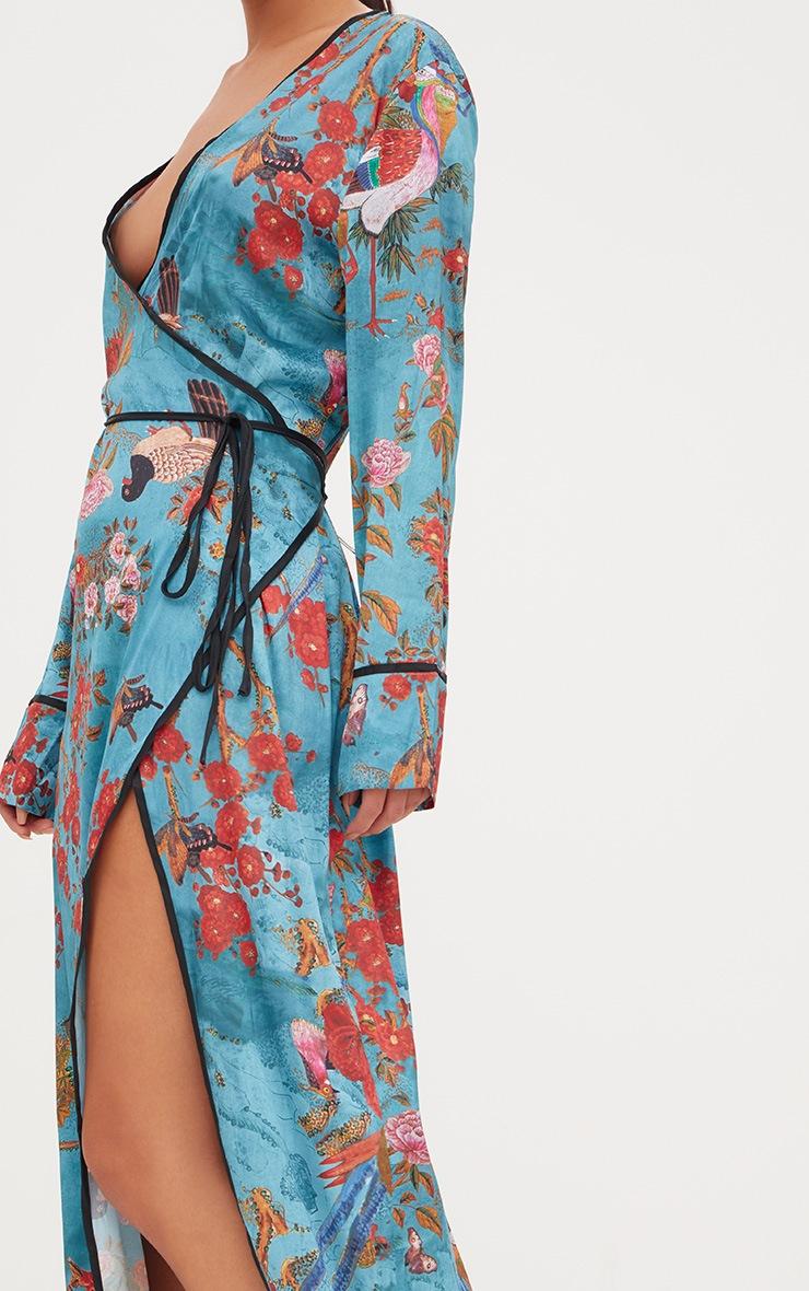 Teal Floral Satin Kimono Maxi Dress 4