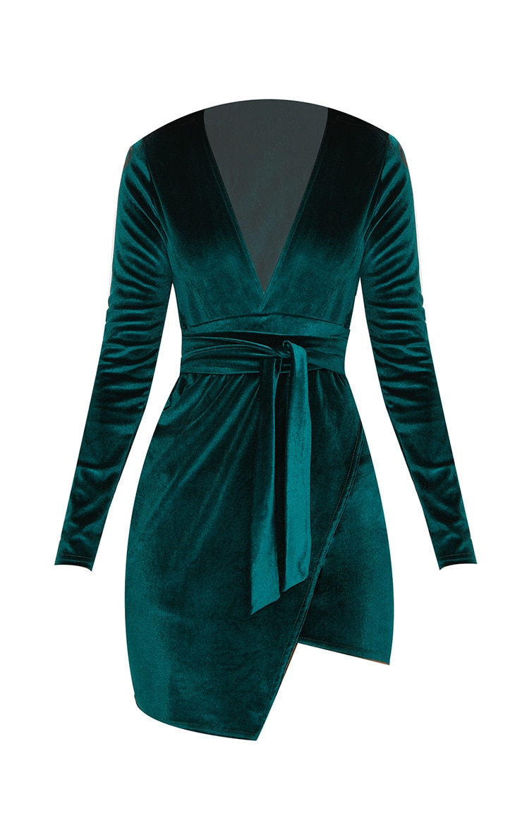 Emerald Green Plunge Wrap Detail Long Sleeve Mini Dress