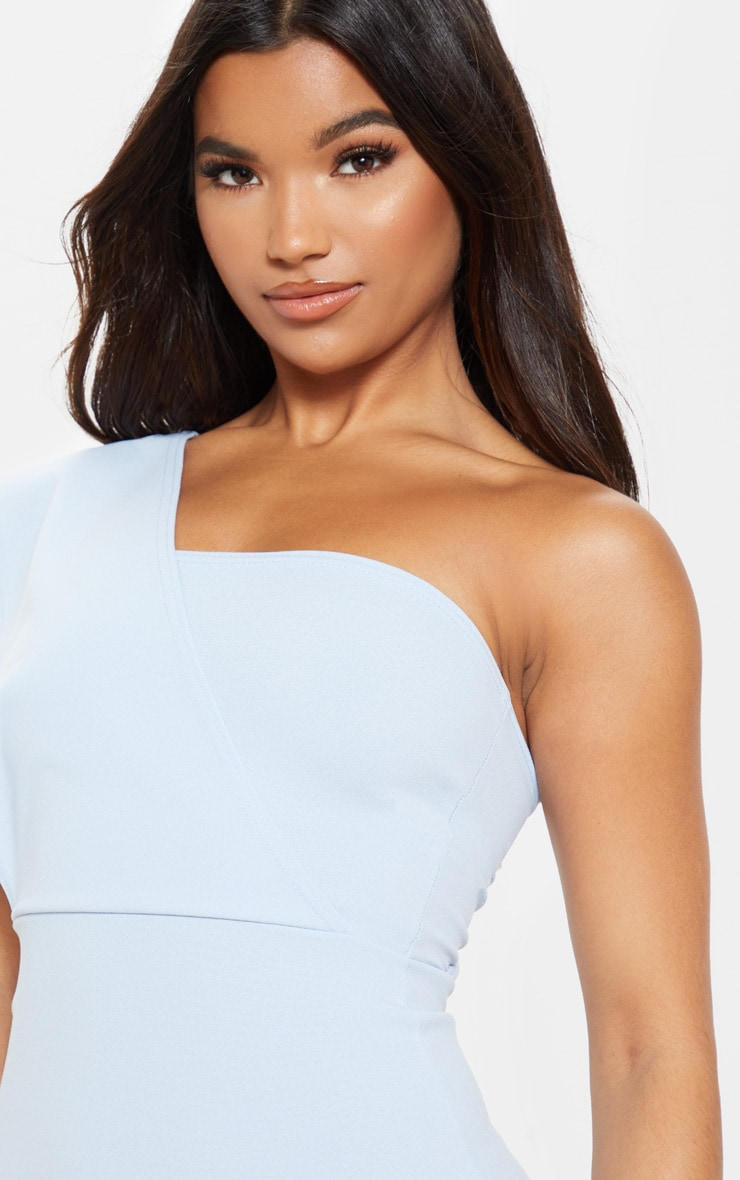 Dusty Blue One Shoulder Drape Midi Dress 5