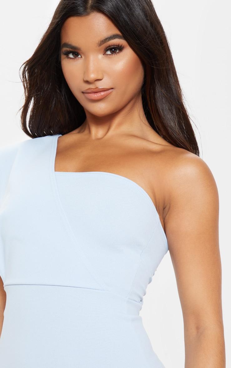 e99e5ff6fdad6 Dusty Blue One Shoulder Drape Midi Dress | PrettyLittleThing