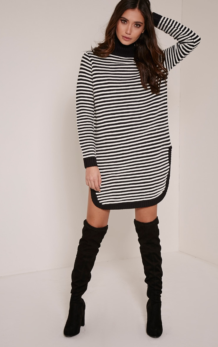 Helena Monochrome Stripe Dolphin Hem Jumper Dress 3