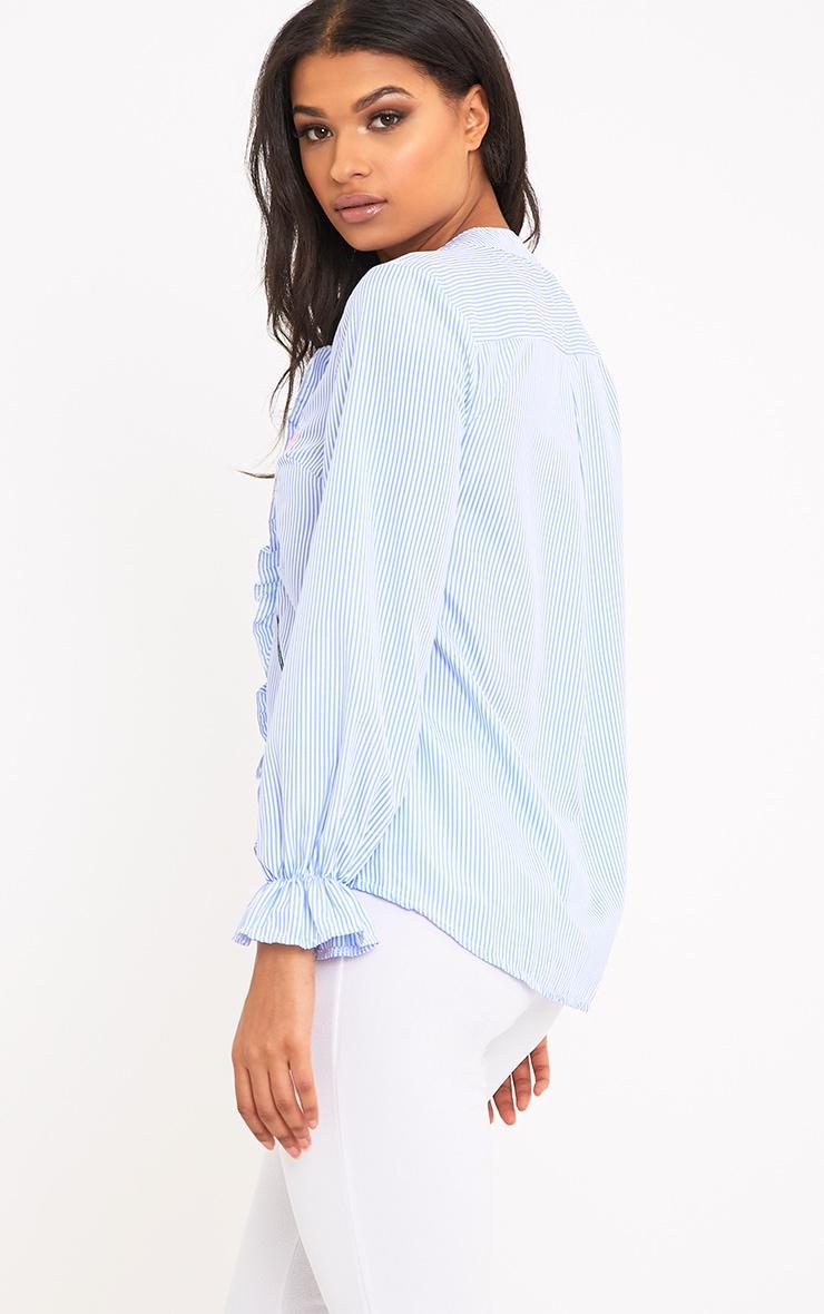 Linette Blue Embroidered Stripe Shirt 2
