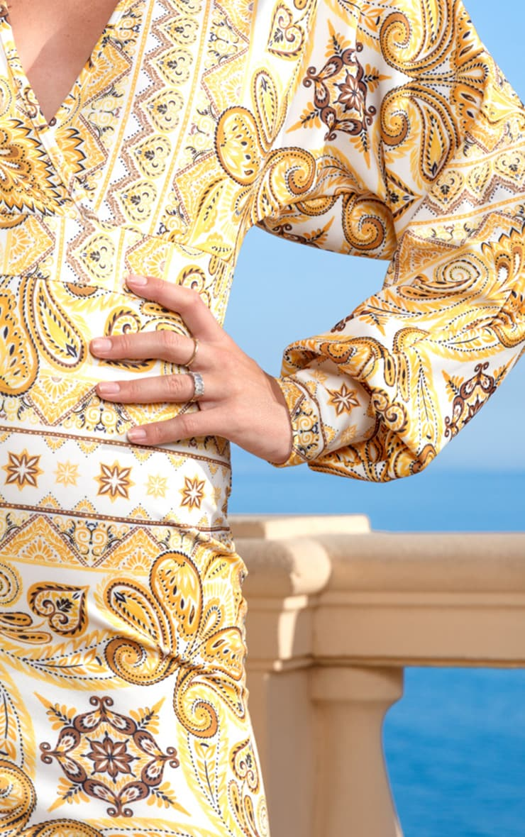 Yellow Tile Print Puff Sleeve Bodycon Dress 4
