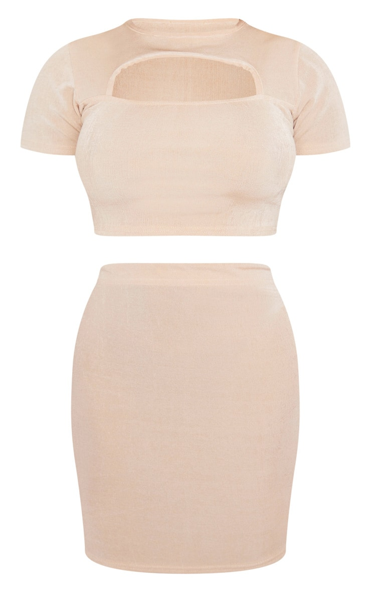 Champagne Slinky Cut Out Top And Mini Skirt Set 3