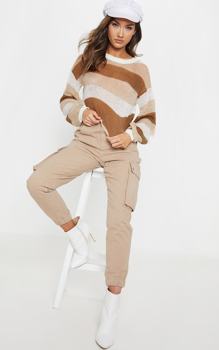 Cream Striped Knitted Cropped Laguna Jumper  4