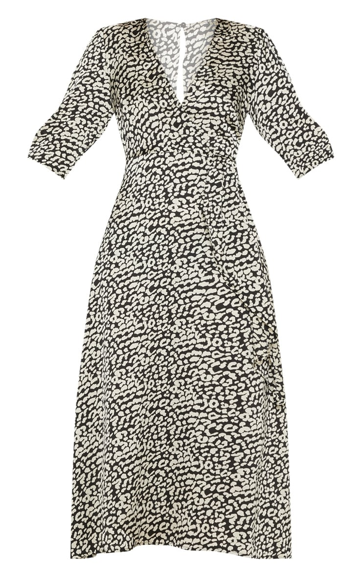 Monochrome Leopard Print Satin Drape Detail Skater Midi Dress  3
