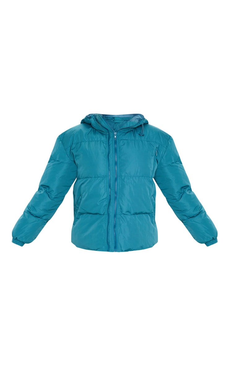 Mineral Blue Puffer Contrast Hooded Jacket 3