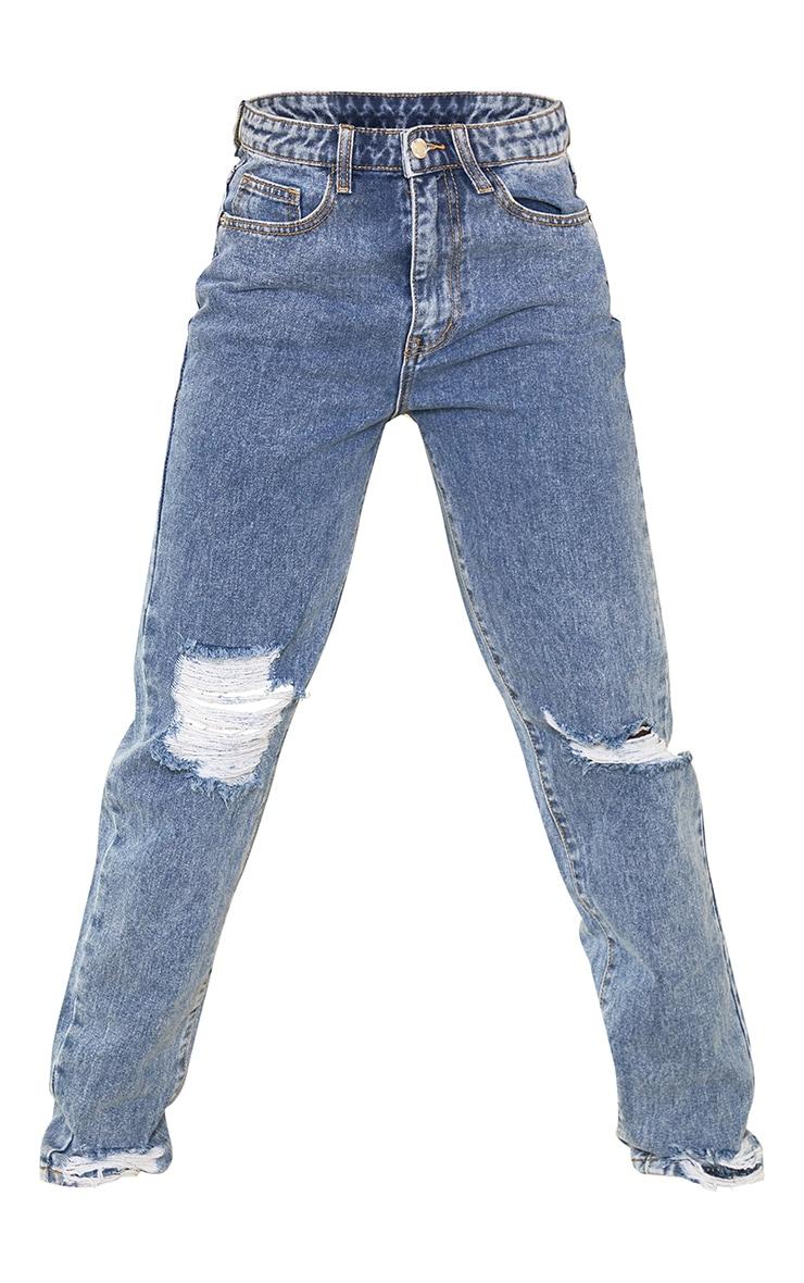 PRETTYLITTLETHING Tall Vintage Wash Extreme Distressed Hem Jean 5