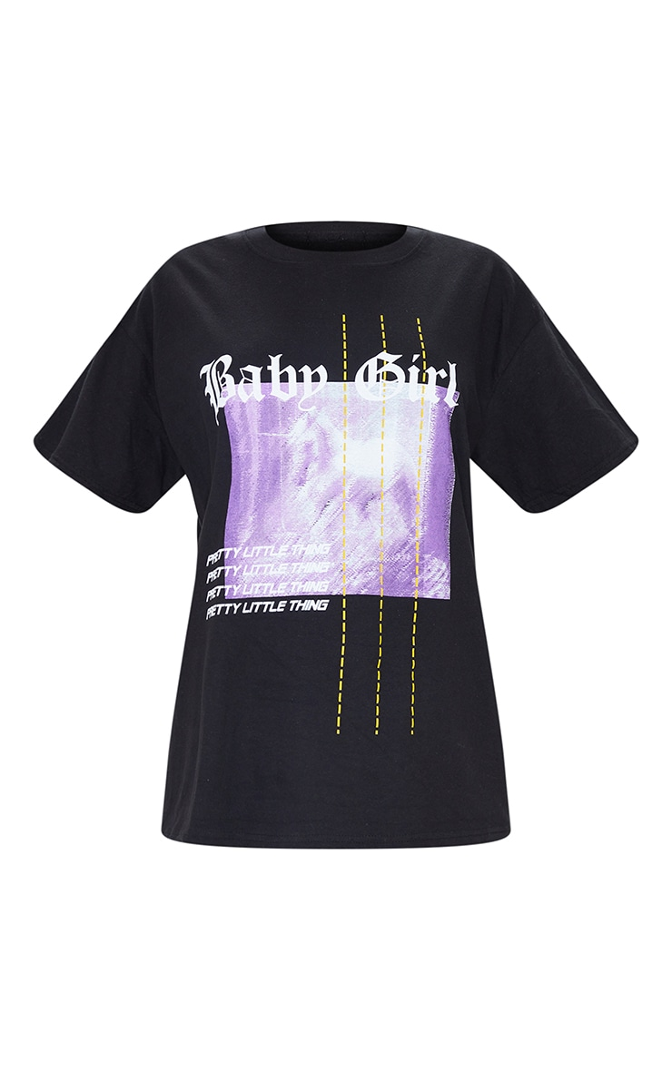 PRETTYLITTLETHING Black Printed Baby Girl T Shirt 5