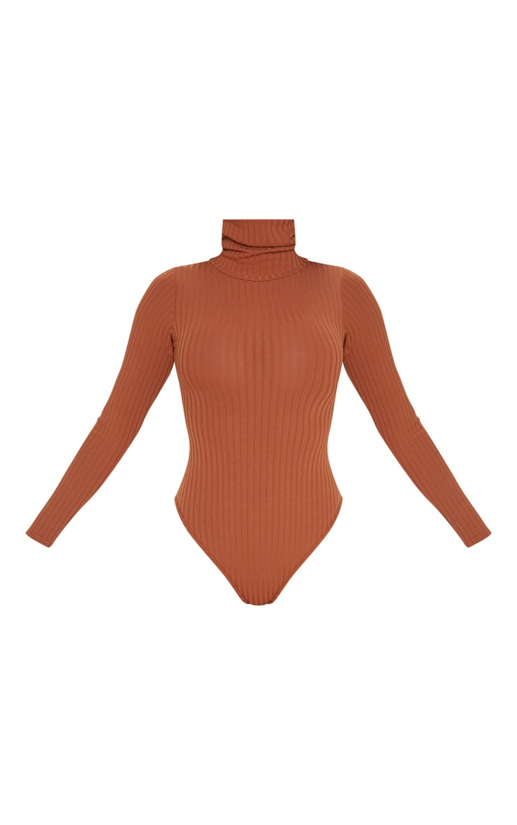 Burnt Orange Rib Roll Neck Long Sleeve Bodysuit 3