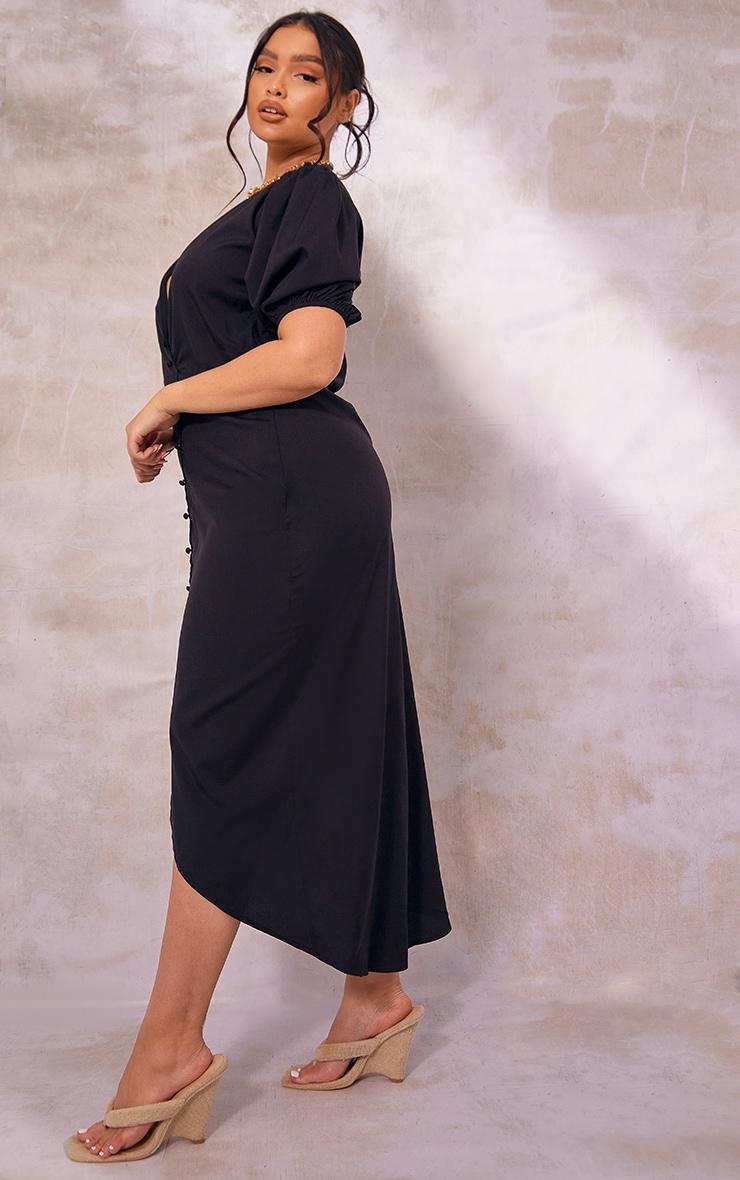 Plus Black Puff Sleeve Button Up Midaxi Dress 3