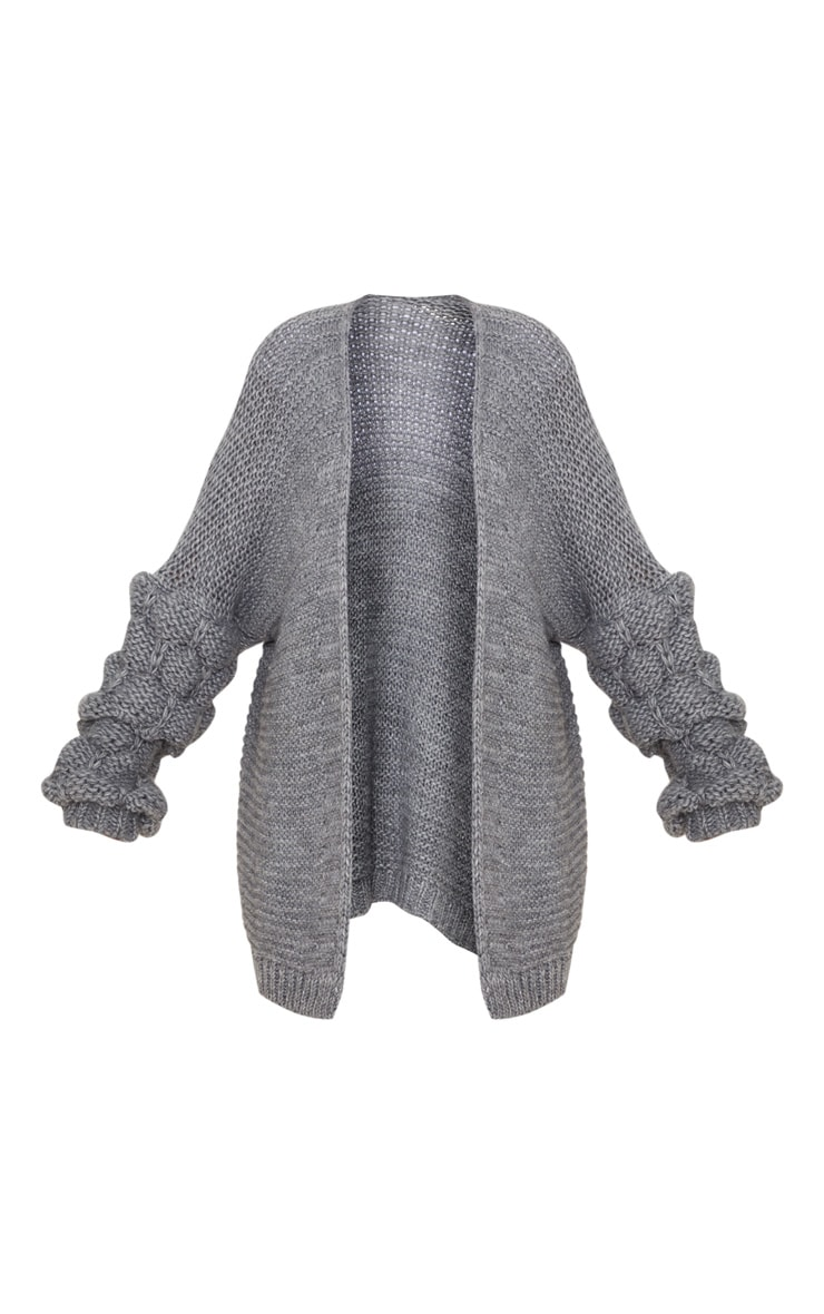 Grey Knitted Bubble Sleeve Cardigan 3
