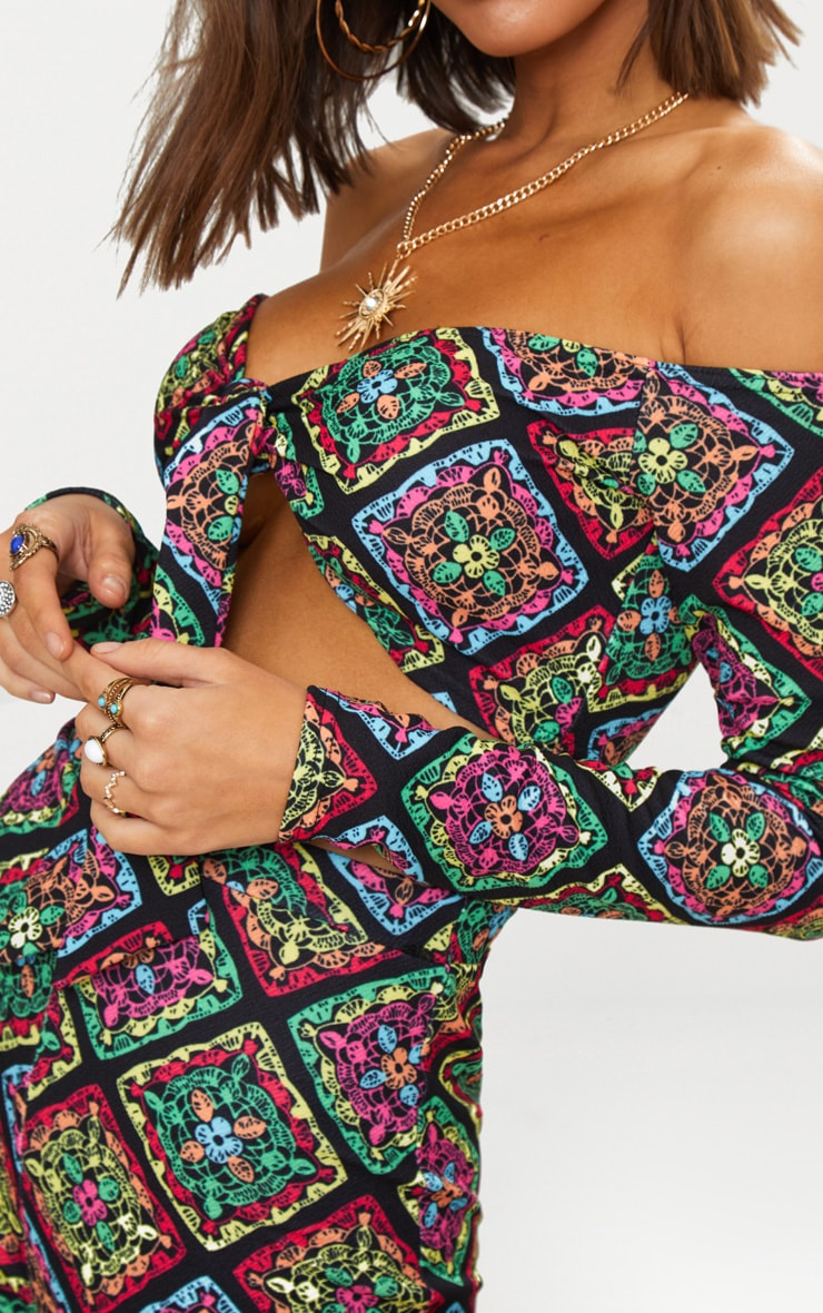 Multi Printed Crochet Tie Front Bardot Crop Top 5
