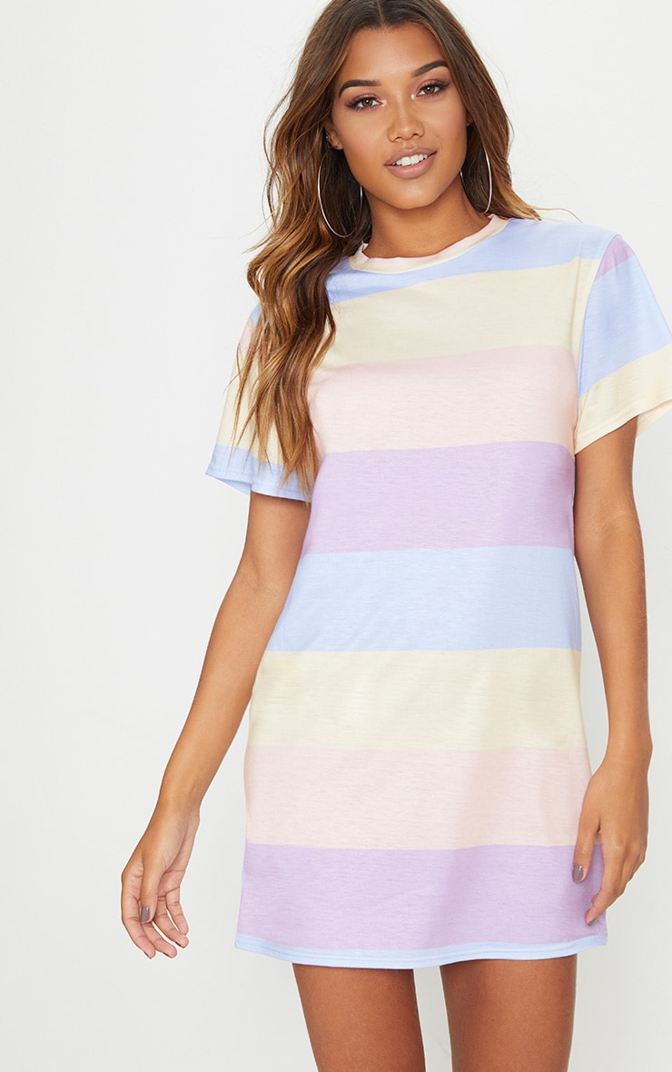 best cheap united states reputable site Pastel Lilac Stripe Print T Shirt Dress