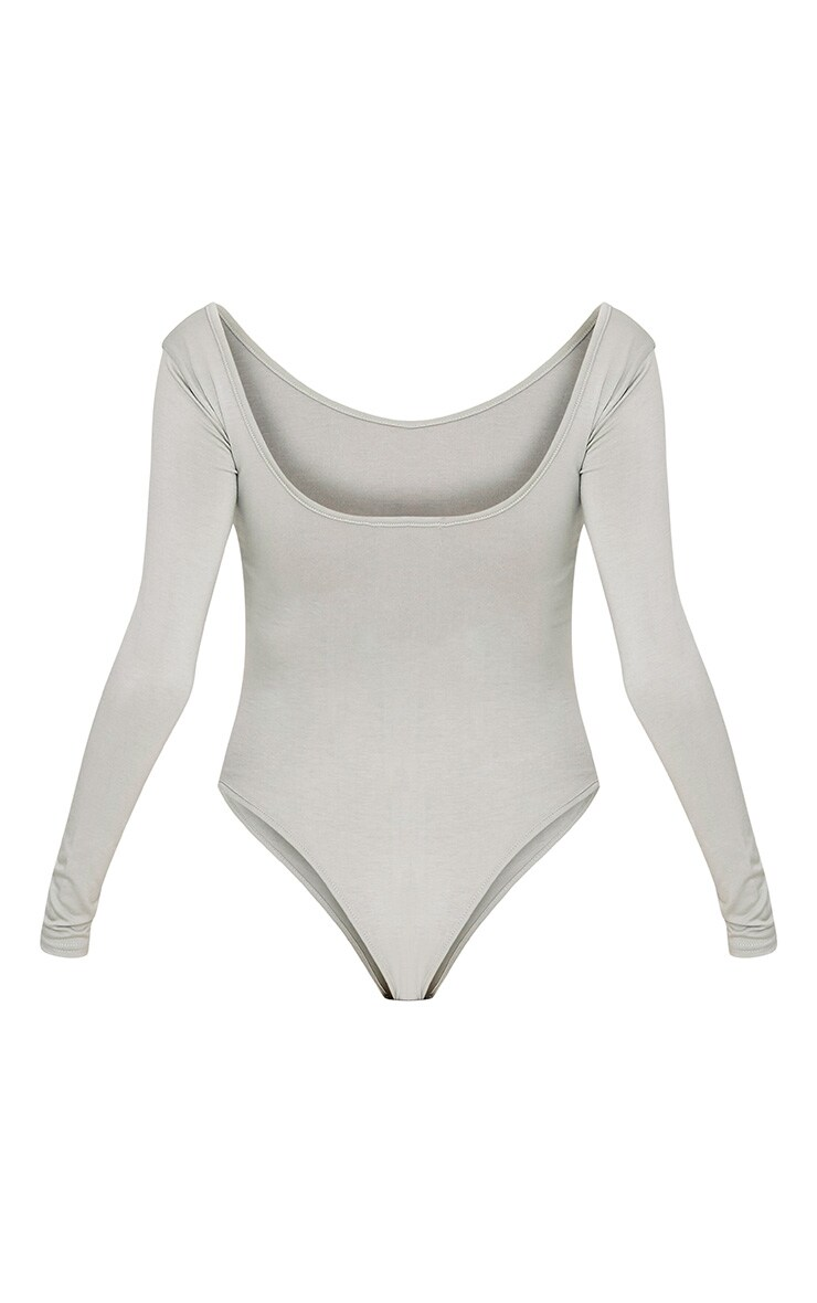 Sage Green Scoop Back Longsleeve Bodysuit 4