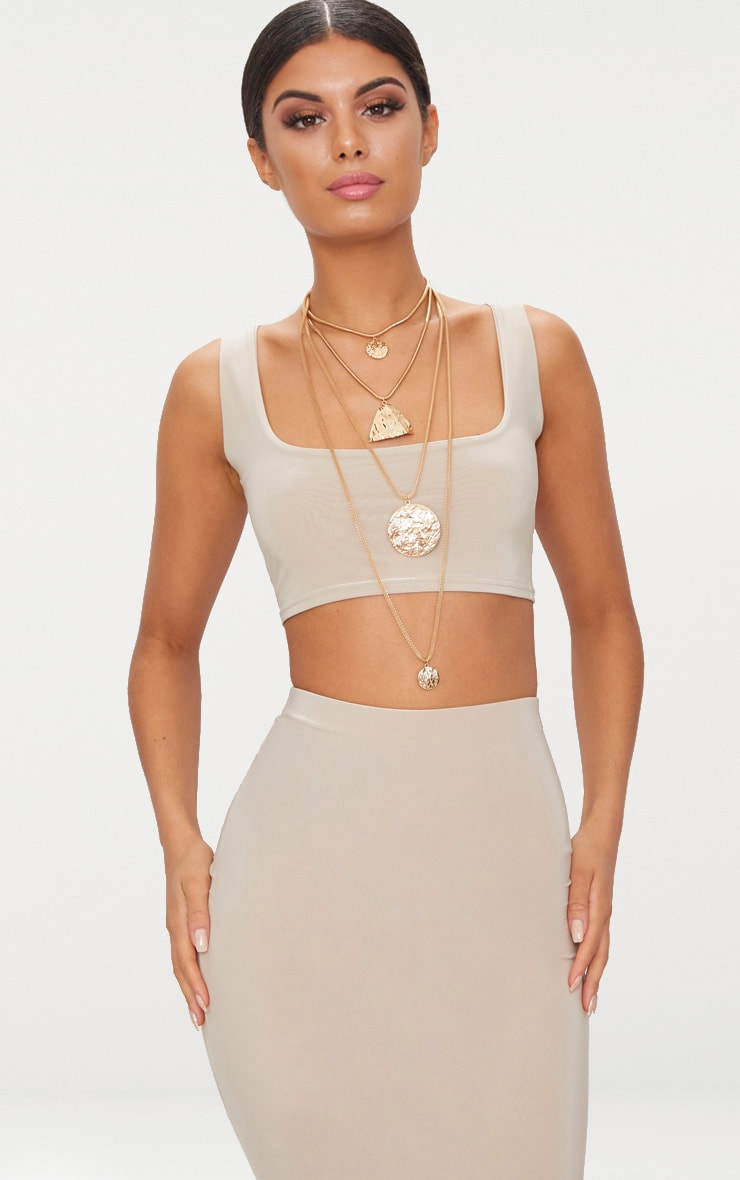 Stone Slinky Round Neck Sleeveless Crop Top  1