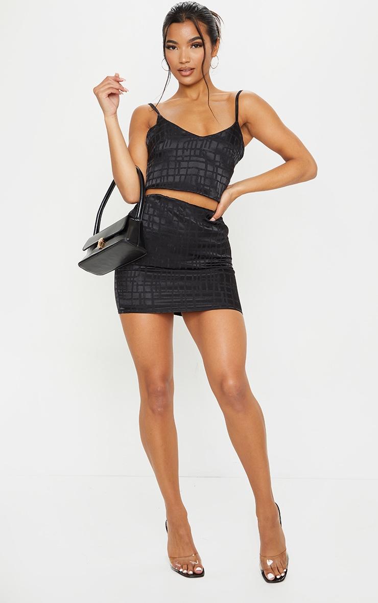 Black Print Satin Mini Skirt 1