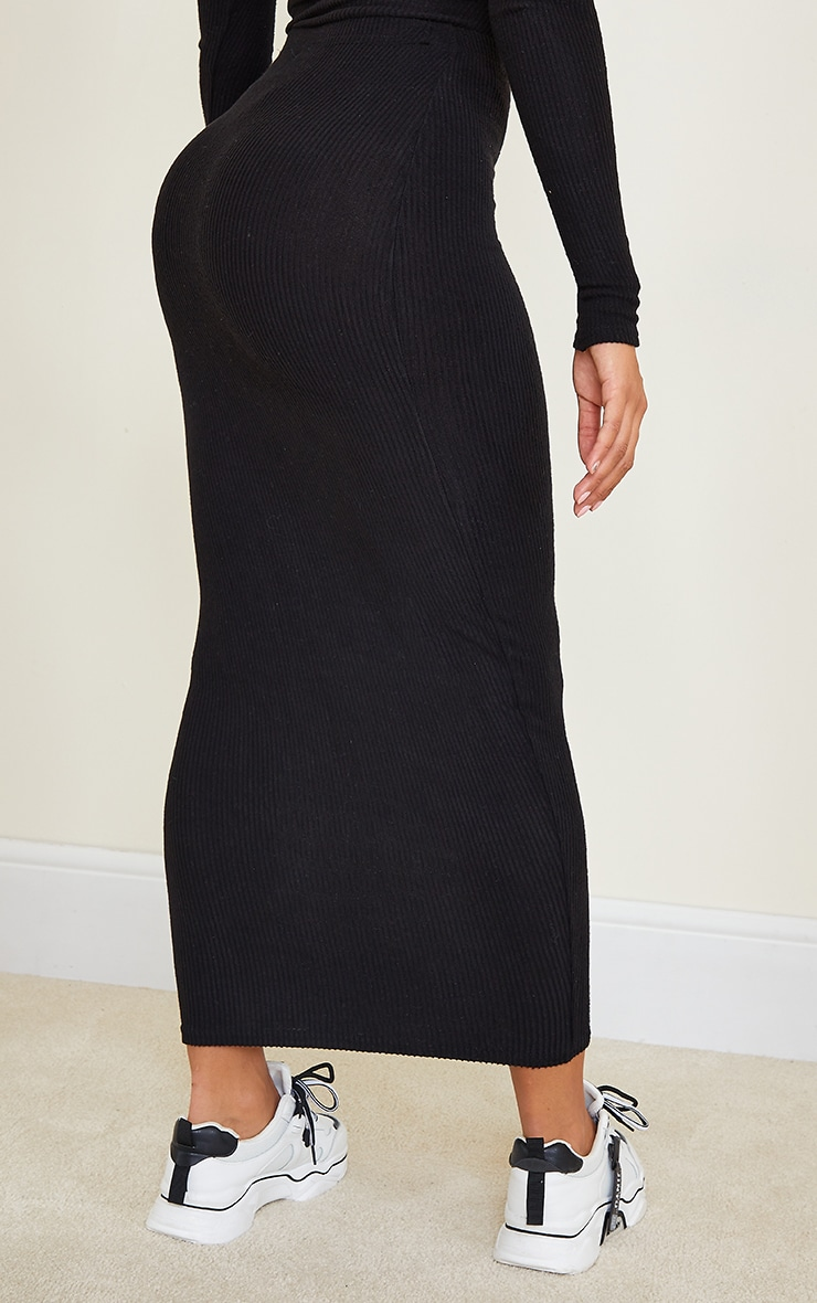 Shape Black Brushed Rib Midaxi Skirt 3
