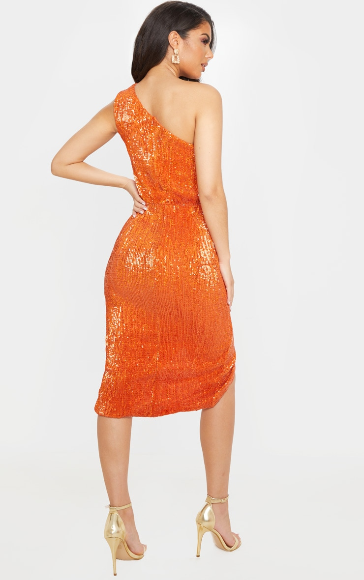 Rust Sequin One Shoulder Strap Cut Out Ruched Midi Dress 2