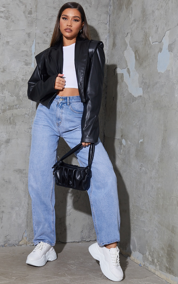 Black Faux Leather Extreme Padded Shoulder Jacket 3