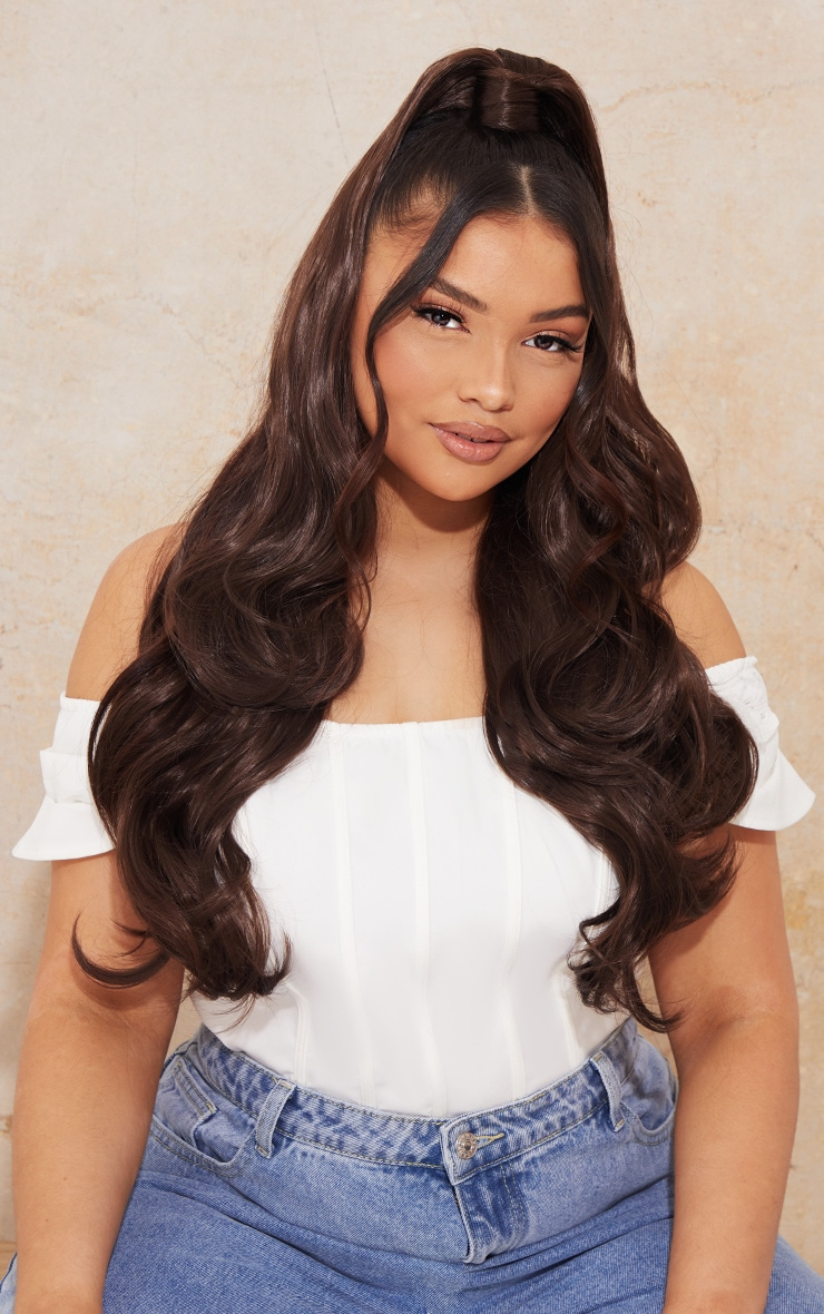 Lullabellz Ultimate Half Up Half Down 22 Curly Extension and Pony Set Choc Brown 1
