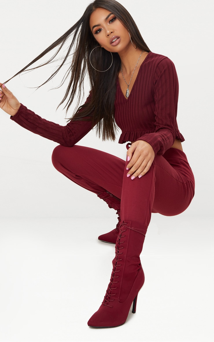Burgundy Rib Knit Frill Hem Top 4