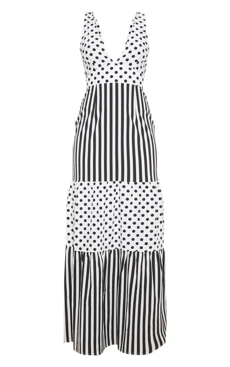 White Stripe Polka Dot Mixed Print Maxi Dress 3