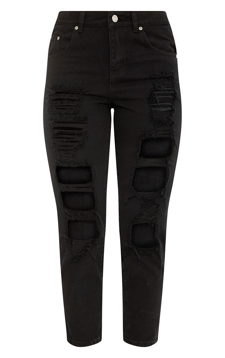Black Extreme Shred Straight Leg Jean 3