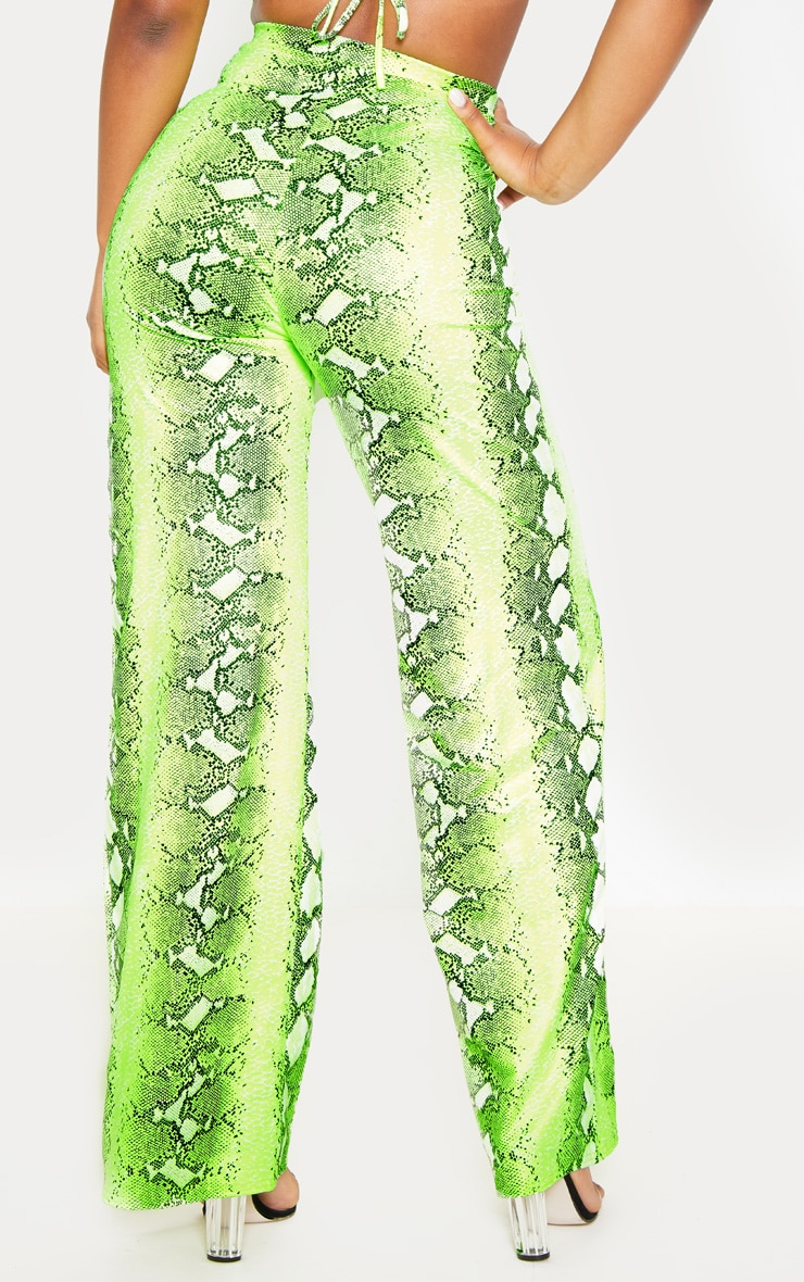 Neon Lime Snake Print Wide Leg Pants 4
