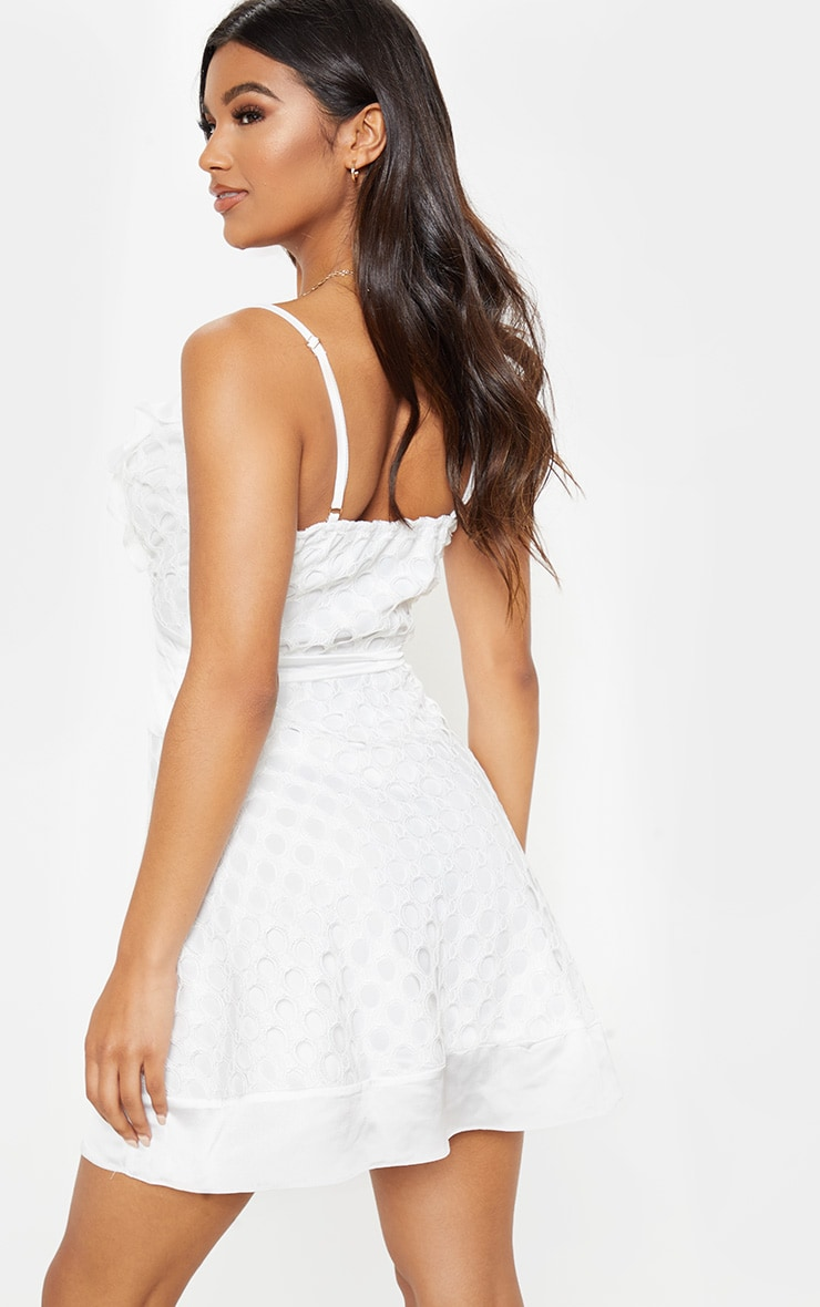 White Lace Strappy Skater Dress 2
