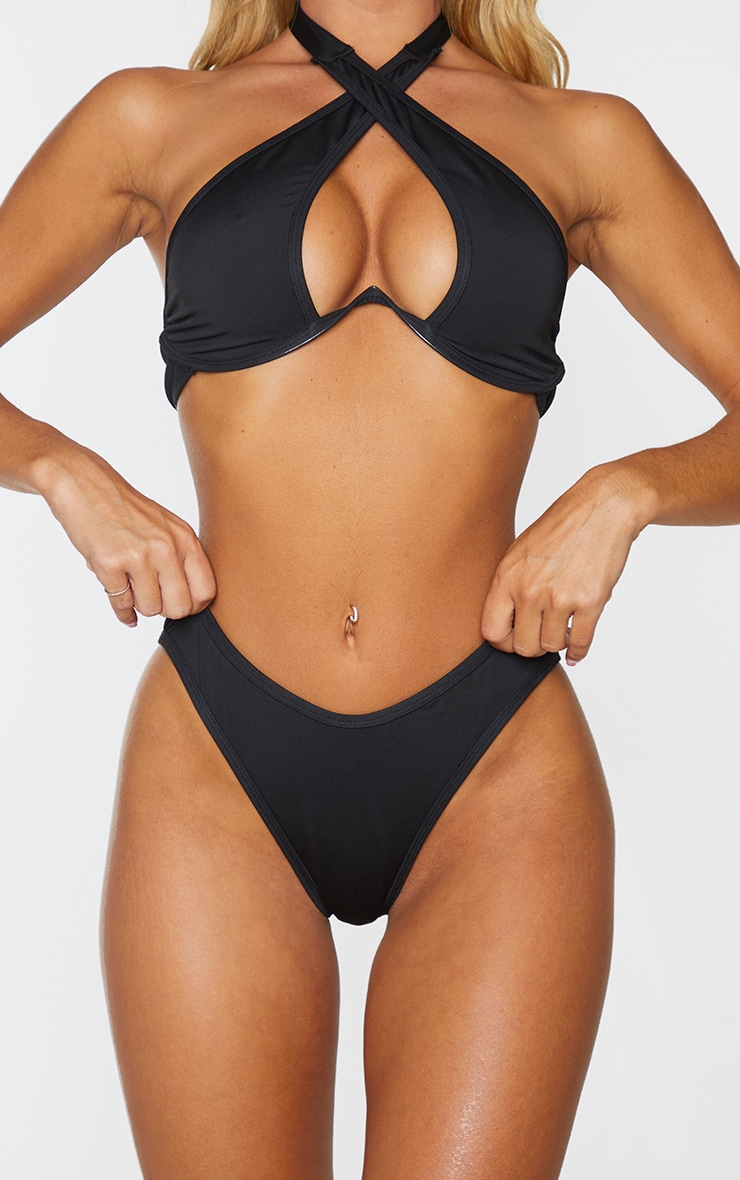 Black High Leg Bikini Bottoms 1