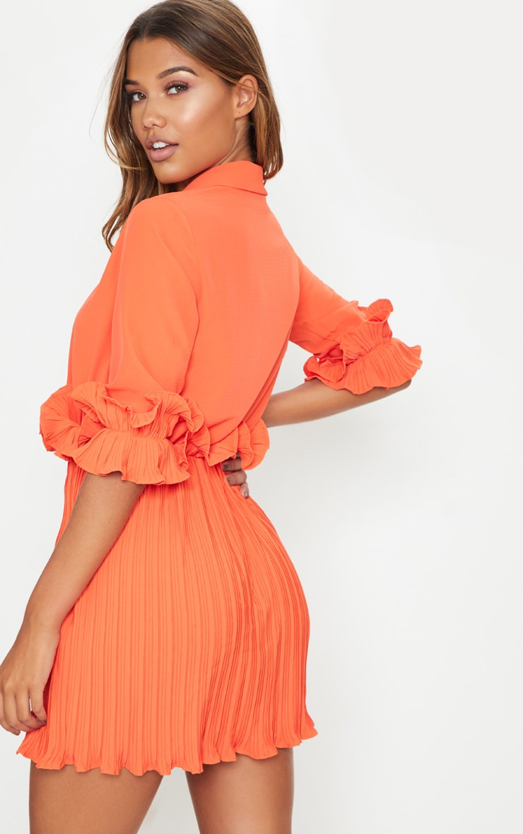 Bright Orange Frill Detail Pleated Skater Dress 2