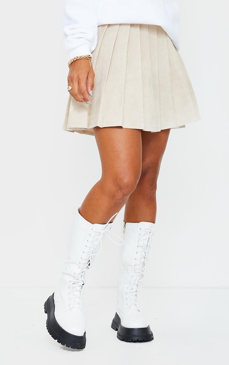 Stone Cord Pleated Skater Skirt 2